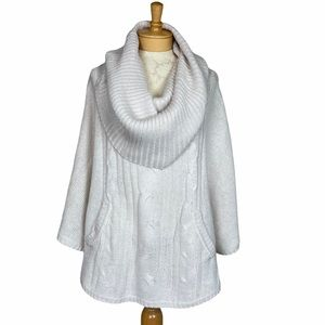 H&M Divided Cowl Neck Cable Knit Poncho Ivory 10
